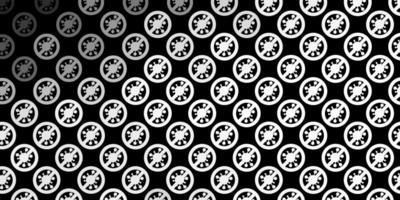 Dark Gray vector background with covid-19 symbols.