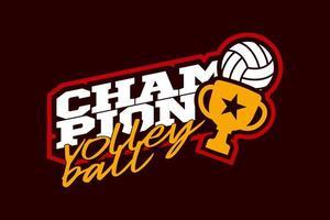 campeón de voleibol vector logo