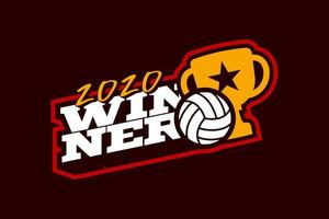 logotipo de vector de voleibol ganador
