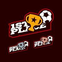 Conjunto de competencia de victoria de fútbol o fútbol. vector
