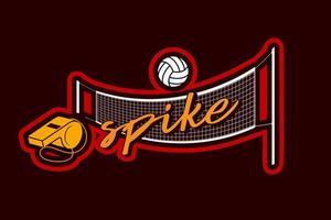 Silbato de red de voleibol y logotipo de etiqueta de pelota vector