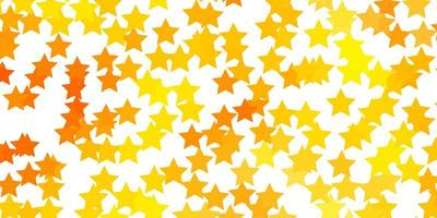 Light Orange vector background with colorful stars.