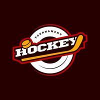 logotipo del deporte de hockey. campeonato de hockey deportivo profesional moderno o tipografía de torneo en estilo retro con palo y disco. emblema de diseño vectorial, insignia y diseño de logotipo de plantilla deportiva.