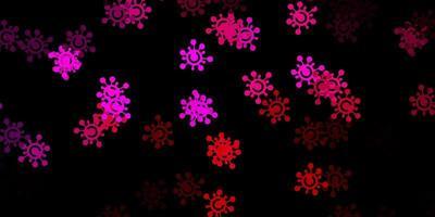 Telón de fondo de vector rosa oscuro con símbolos de virus.