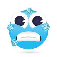 emoji cara congelada gracioso personaje vector