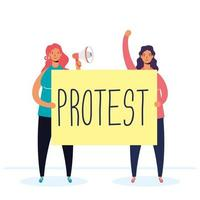 women protesting with megaphone and placard vector