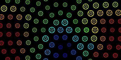 Dark Multicolor vector backdrop with mystery symbols.