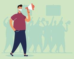 Hombre vestido con máscara médica protestando con megáfono vector