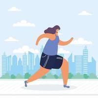 mujer joven con máscara médica corriendo personaje avatar vector