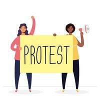 interracial women protesting with megaphone and placard vector