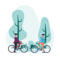 young couple on bicycles vector