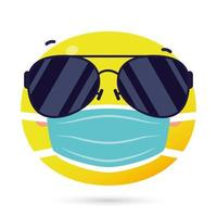 emoji face using medical mask funny character vector