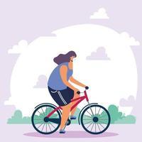 mujer joven, llevando, médico, máscara, en, bicicleta vector