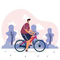 joven, llevando, médico, máscara, en, bicicleta vector