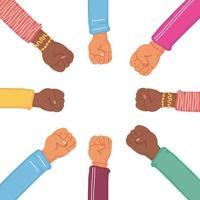icono de estilo plano de equipo humano de manos de diversidad
