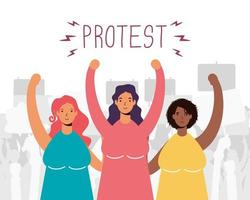 interracial women group protesting characters vector