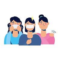 mujeres jóvenes enfermas con covid19 síntomas avatares personajes vector