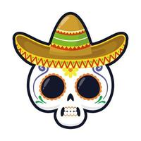Cabeza de calavera mexicana tradicional con diseño de ilustración de vector de icono de estilo plano de sombrero de mariachi
