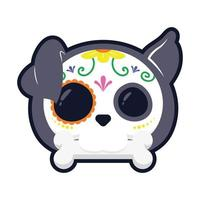 traditional Mexican dog skull head flat style icon vector illustration design
