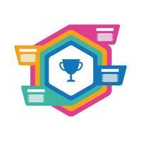 Copa de trofeo con icono de estilo plano de estadísticas de infografía