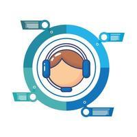 hombre con icono de estilo plano de estadísticas de infografías de auriculares