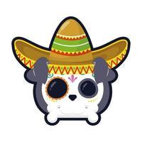 Cabeza de cráneo de perro mexicano tradicional con diseño de ilustración de vector de icono de estilo plano de sombrero de mariachi