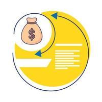bolsa de dinero con icono de estilo plano de estadísticas de infografía
