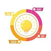 icono de estilo plano financiero de estadísticas de bombilla e infografía