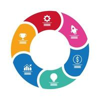 Estadísticas de infografías circulares con iconos de estilo plano financiero vector