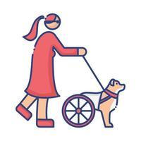 perro discapacitado con ruedas liderando el icono de estilo plano de mujer ciega vector