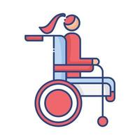 woman in wheelchair disabled flat style icon vector