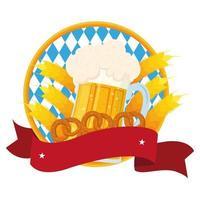 Bandera de oktoberfest con cerveza fresca en tarro y pretzels vector