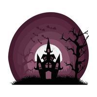 halloween haunted castle in dark scene vector