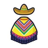 La cultura mexicana poncho y sombrero de mariachi estilo plano, diseño de ilustraciones vectoriales