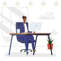 African man using desktop in workplace character vector