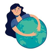 young woman hugging world planet earth vector