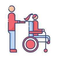 helper with woman in wheelchair disabled flat style icon vector