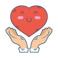 Manos protegiendo el corazón amor icono de personaje kawaii vector