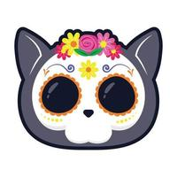 traditional Mexican cat skull head flat style icon vector illustration design