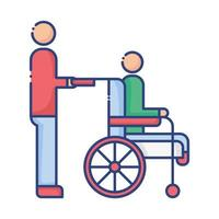 helper with man in wheelchair disabled flat style icon