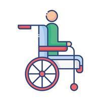 silla de ruedas con icono de estilo plano de persona discapacitada vector