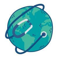 mundo planeta tierra con estetoscopio médico vector