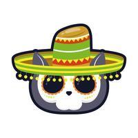 Cabeza de cráneo de gato mexicano tradicional con diseño de ilustración de vector de icono de estilo plano de sombrero de mariachi