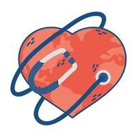 mundo planeta tierra con forma de corazón y estetoscopio