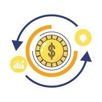 Moneda con flechas infografías estadísticas icono de estilo plano
