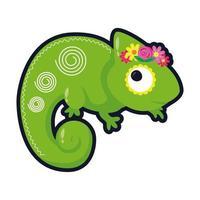 pequeño camaleón con flores icono de estilo plano vector