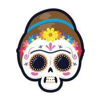 traditional Mexican woman skull head flat style icon vector illustration design
