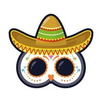 traditional Mexican hat and mask flat style icon vector illustration design
