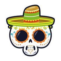 Cráneo mexicano tradicional con diseño de ilustración de vector de icono de estilo plano de cabeza de sombrero