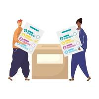 interracial couple with voting card in box vector